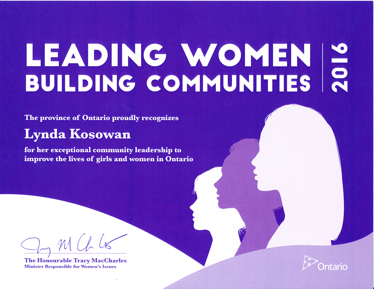 Lynda Kosowan's Leading women building communities 2016 award certificate