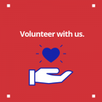 Hand with heart image that leads to volunteer page.