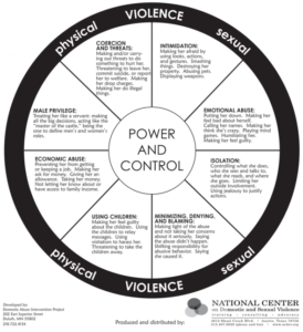 Graphic of Duluth model Power and control wheel of violence