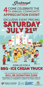 image for a Community Appreciatoin event on Sat July 21st at Scarborough Toyota - bbq etc.